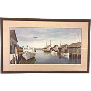 Vintage Wellington Wood Jr. Limited Edition Print of Fishing Shacks Framed & Matted (#372/1000)