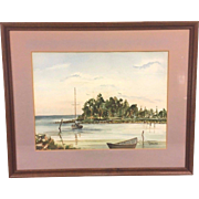 Vtg William Garlick Watercolor Cove w/ Sailboat & Dory Framed & Matted Signed