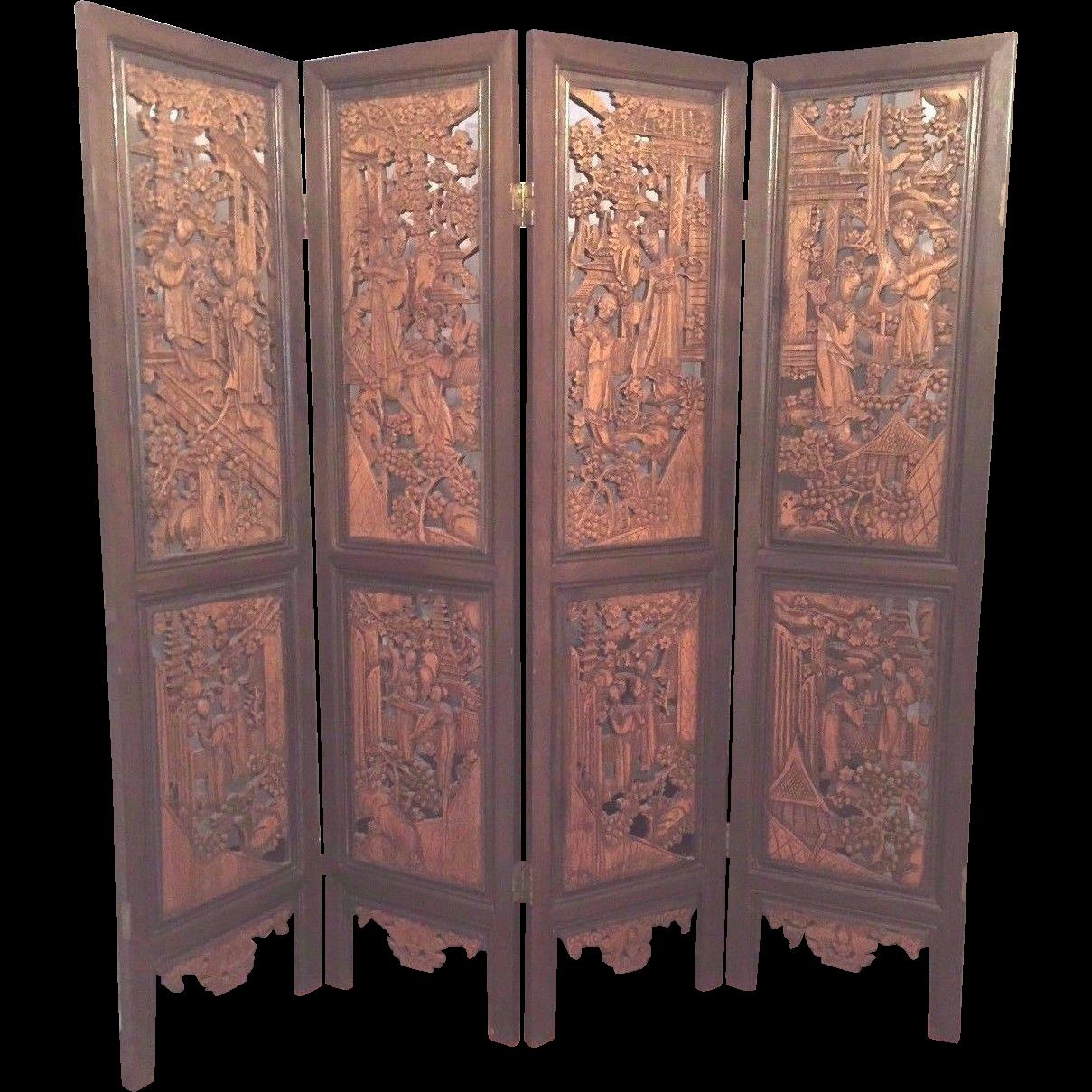Vintage oriental privacy screen pressed wood great