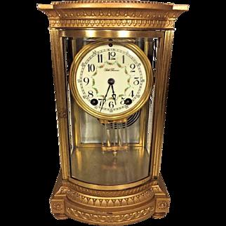Antique Seth Thomas Crystal Regulator Clock Bow Front Glass Embossed Case Porcelain Face Runs & Strikes Uncertain of Model Name