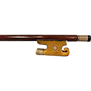 Antique Violin Bow w/ Elegant Bone Frog Round Shaft No Makers Mark