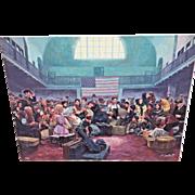 "Mort Kuntsler ""Ellis Island, Main Hall"" Oil on Canvas Limited Edition Print # 73 of 200 Not Framed 1986 The American Spirit Series"