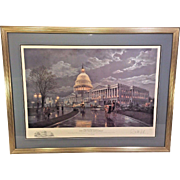 "Paul McGehee Ltd Edition Print ""The Capitol by Moonlight"" w/ White House Remarque  81/2000"