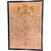 Vintage Colored Oriental (Chinese) Map of Beijing aka Peking - The Forbidden City  in Frame Wood Laminate Backer
