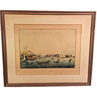"""Antique French """"Vue De Boston"""" Harbor Print in Frame by Engraver Ambrose Garneray Engraving Aquatint by Ambroise Louis Garneray Hand Colored Framed 1830s to 1840s"""