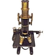 Vintage Bausch & Lomb Microscope w/ Viewing Attachment and Wood Case Rochester NY Patented January 1915