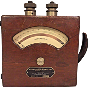 Vintage Weston Electric Ampere Meter Model 155 Wood Case (Ammeter)