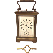 Antique French Repeater Carriage Clock with Alarm Runs, Strikes! 13 Jewels Brass Case  Alarm Not Working Loen Thurber Co Providence RI on Porcelain Clock Face