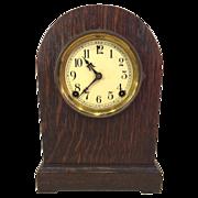 Antique Sessions Mantel Clock Porcelain Face Oak Case Not Running Project Clock