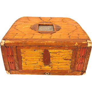 Antique Asian Box Purse Wood Hinged Side Multicolor Glass Designed Area Under Glass