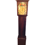 M Night Shamylan Movie Prop Antique Tall Case Clock Pennsylvania Dutch Cherry Case Not Running Floral Face