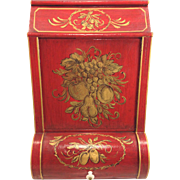 Antique General Store Bin Red & Gold Decorated Top and Lower Doors  Restored 1976 by Helen Bushnell