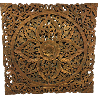 Antique Large Carved Wood Wall Plaque of Flower Blossom Moroccan Origin