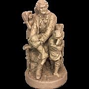 Vintage John Rogers Statue Rip Van Winkle at Home 1871 Cast Plaster