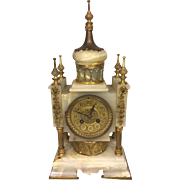 Antique French Clock Onyx Case with Brass Accents No Pendulum Not Running
