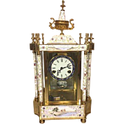 Vintage Crystal Regulator Clock Painted Designs Runs & Strikes Brass Gold Colored Lacquer Accents