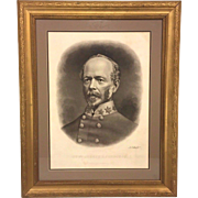 Antique General Joseph Johnston Lithograph Civil War Confederate Officer Eng A B Walter Publ by Bostwick 1872