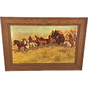 "Vintage Oscar Berninghaus Western Print Reproduced by Anheuser Busch in Frame Stagecoach Attacked by Indians Titled ""A Fight for the Overland Mail"""