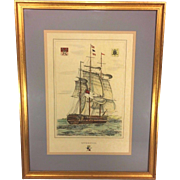 "Antique Ship Lithograph ""Liverpool"" Hand Colored Framed and Matted"