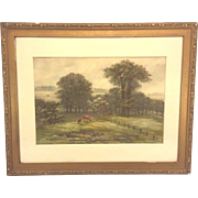 Antique Ferdinand Moras Watercolor Pasture with Horsed Signed Framed Late 1800s