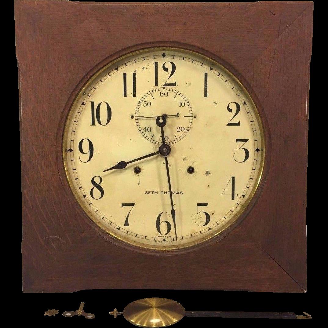 vintage seth thomas office no 11 wall clock oak case not