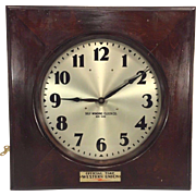 Vtg Self Winding Clock Co Wall Clock Western Union Branded Mahogany Case Not Running New York 1910s