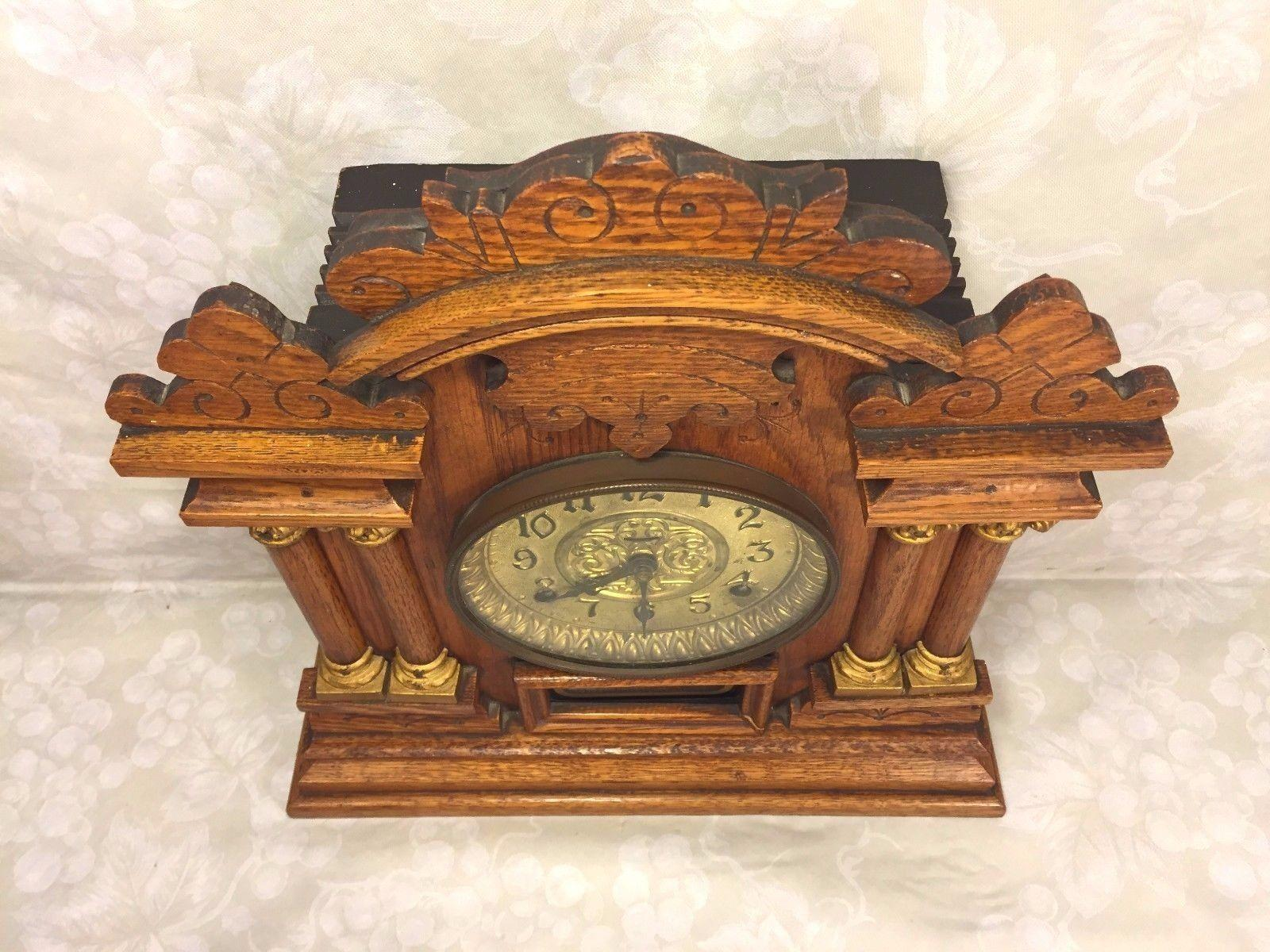 Antique Ingraham Cabinet No 7 Victorian Mantel Clock Running ...