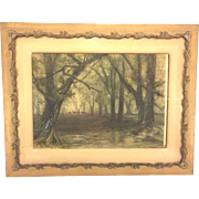 Antique Ferdinand Moras Watercolor Painting Forest Scene w/ Herd of Deer Framed Late 1800s