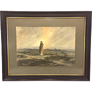 Antique Ferdinand Moras Watercolor Painting Jesus Wandering in the Desert During the Temptation by the Devil Framed Piece Dates to Late 1800s
