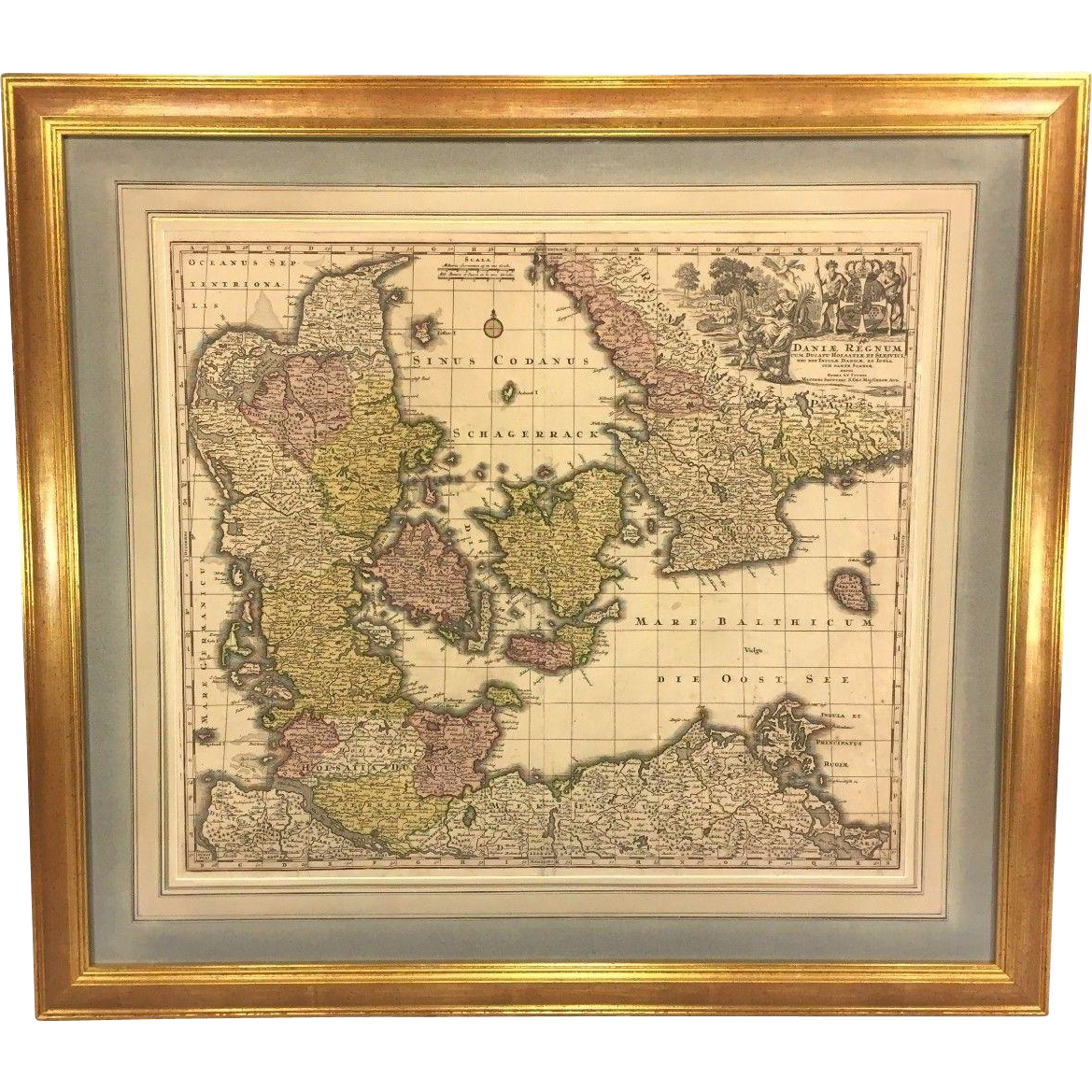 antique map of the kingdom of denmark titled