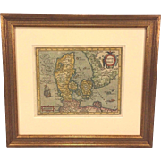 Antique Map of Denmark Hand Colored Dantae Regnum Miliaria Germanica Communia in Frame