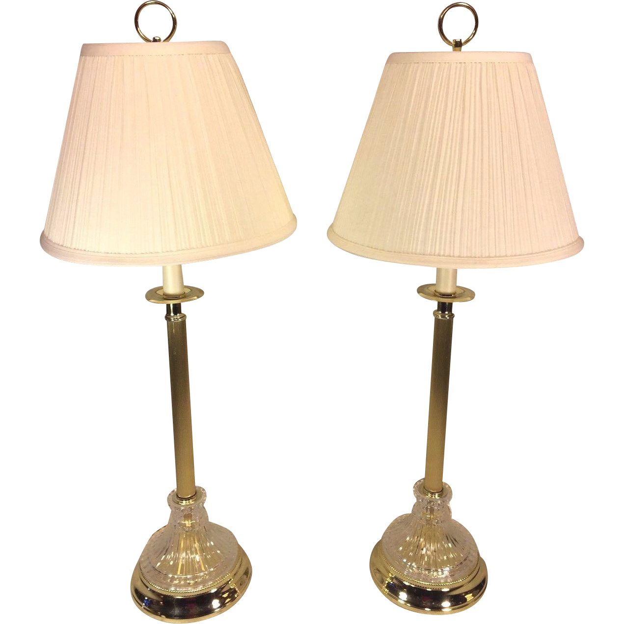 Pair Of Glass Amp Brass Toned Table Lamps Pleated Shades