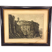 Antique Luigi Rossini Etching Veduta dell'Avanzo dell'Anfiteatro Castgrense Framed & Matted