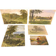 Antique Ferdinand and Bertha Moras Set of 5 Watercolor Landscape Sketches Late 1800s