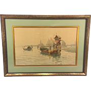 Vintage Watercolor of Venice Water Scene by D G Augustini Framed & Matted