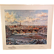 Paul McGehee Limited Edition Prints Georgetown w/ Georgetown University Remarque Georgetown Univ. Overlooking Key Bridge and the Potomac River 1978