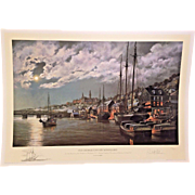 Paul McGehee Limited Edition Print Old Georgetown by Moonlight w/ Remarque of the  Schooner Morris W Child 1991