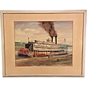 Listed Artist Roscoe Misselhorn Watercolor of Steam Paddlewheeler Listed Artist Framed and Matted