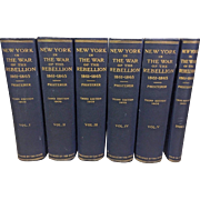 New York in the War of the Rebellion 1861 to 1865 3rd Edition 5 Volumes Plus Index Albany 1912 Blue Cloth Hardcovers w/ Gilt Letter Spines
