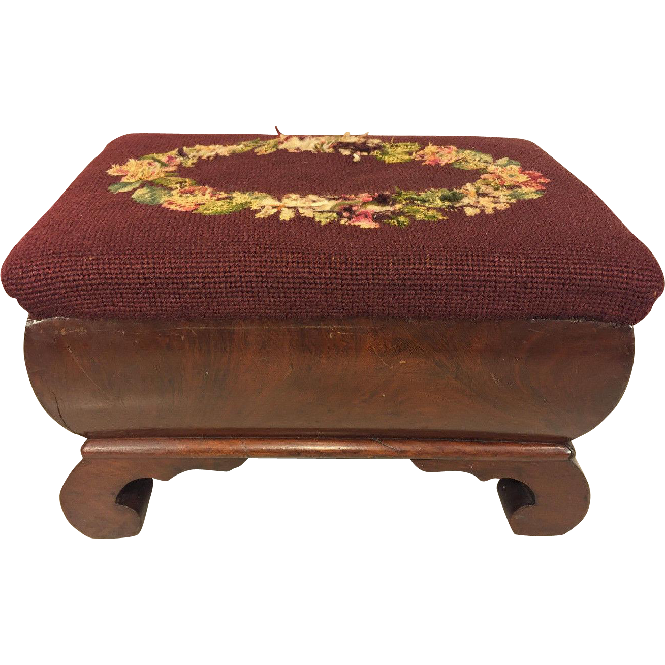 antique empire style flame mahogany stool with embroidery. Black Bedroom Furniture Sets. Home Design Ideas