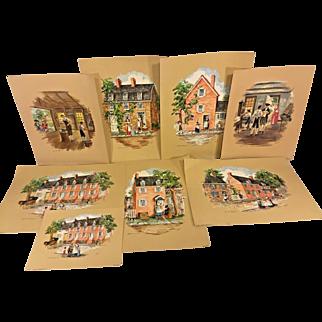 12 Various Morris & Bendien Prints American Colonial Scenes by Lang Logan & Mason