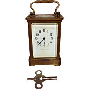 French Brass Carriage Clock Porcelain Face J E Caldwell & Co Runs