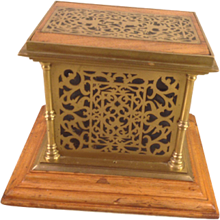 Antique Oak and Brass Table Top Safe with Decorative Detailing in Brass, Glass or Some Other Background