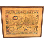 Antique World Map Nova Totius Terrarum Orbis Geographica Ac Hydrographica Tabula Originally Done by Willem Janszoon Blaeu Early 1600s