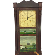 Antique Jerome Pillar & Scroll Weight Driven Clock Nice Glass Tablets Ingraham Brass Movement Not Running 1830s Case