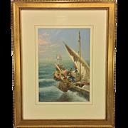 Antique Seth Corbett Jones Venetian Fishing Vessels Watercolor Matted & Framed