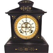 Antique Seth Thomas Metal Case Clock Open Escapement Runs Beautiful Incising w/ Gold Gilt Paint
