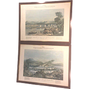 Vintage Pair of Chromolithograph Prints Bournes New System of Indian River Navigation Day & Son London 1858