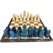 Vintage Quartz Chess Set w/ Marble Board Blue & White Pieces