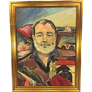 Vintage Ernest Hemingway Oil On Canvas Signed by Author Signed by Artist  Nice Rendering with Images from Some of His Books in the Background